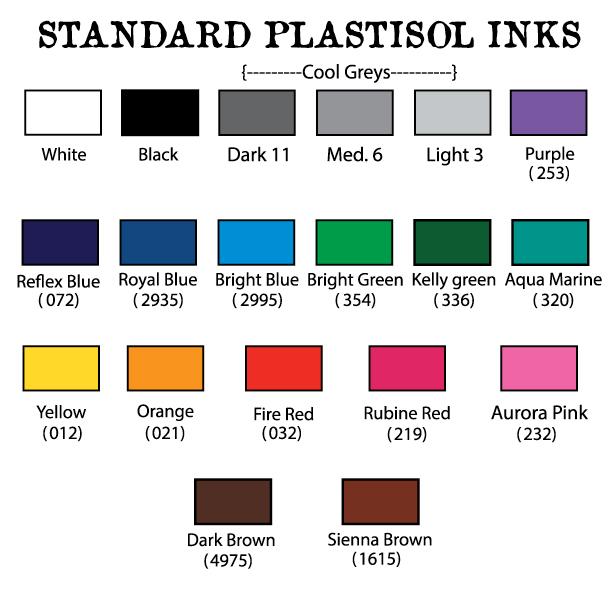 plastisol ink list